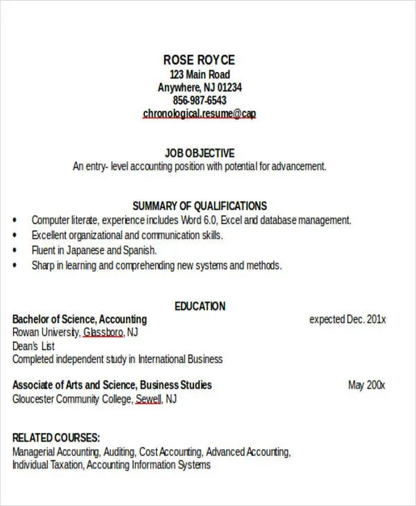 job search resume template