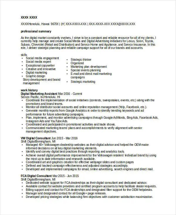 Marketing Resume Templates in Word - 22+ Free Word Documents - marketing assistant resume