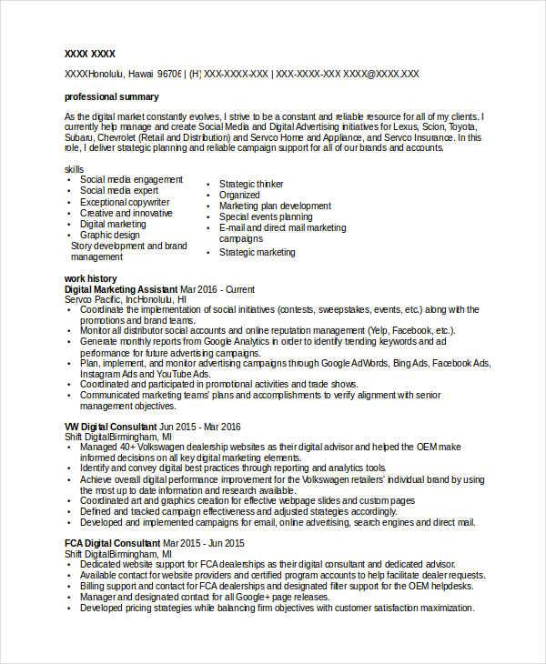 marketing resume keywords list