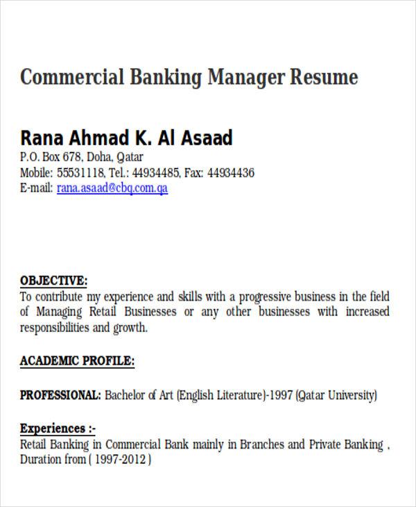 commercial banker resumes