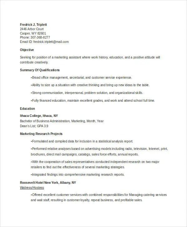 22+ Marketing Resume Templates in Word Free  Premium Templates - marketing student resume