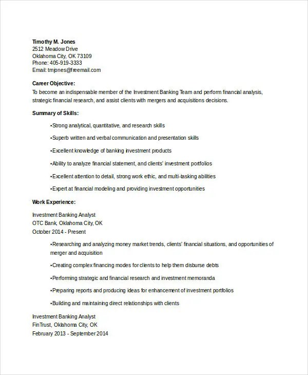 30+ Basic Banking Resume Templates - PDF, DOC Free  Premium Templates - Fixed Base Operator Sample Resume
