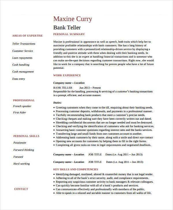 Basic Banking Resumes - 38+ Free Word, PDF Documents Download - bank teller job description for resume