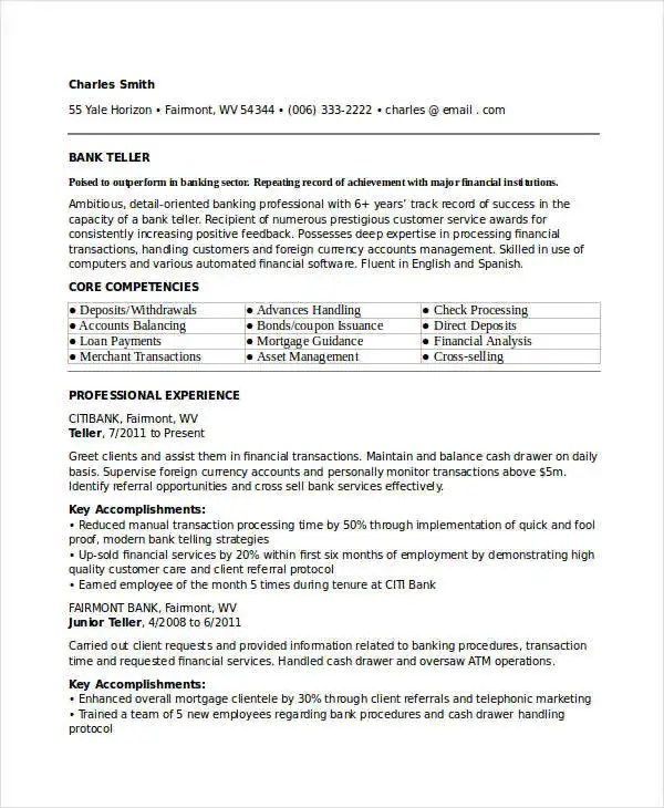 30+ Basic Banking Resume Templates - PDF, DOC Free  Premium Templates - Fixed Base Operator Sample Resume