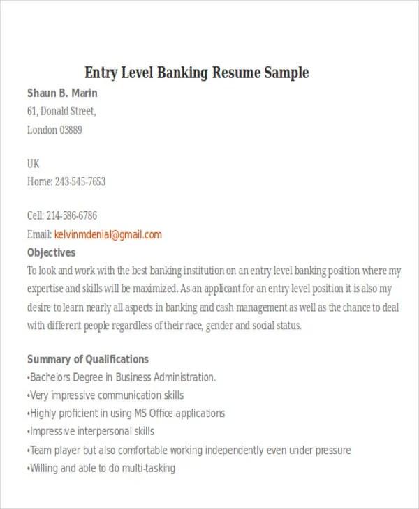 21+ Banking Resume Templates - PDF, DOC Free  Premium Templates