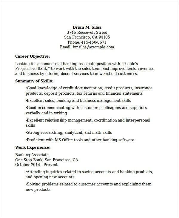 30+ Basic Banking Resume Templates - PDF, DOC Free  Premium Templates - commercial banker sample resume