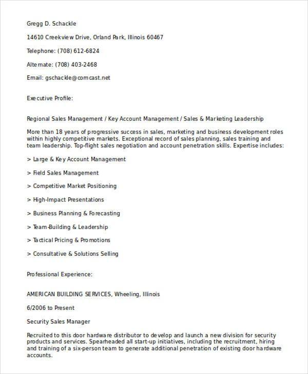 resume examples in sales