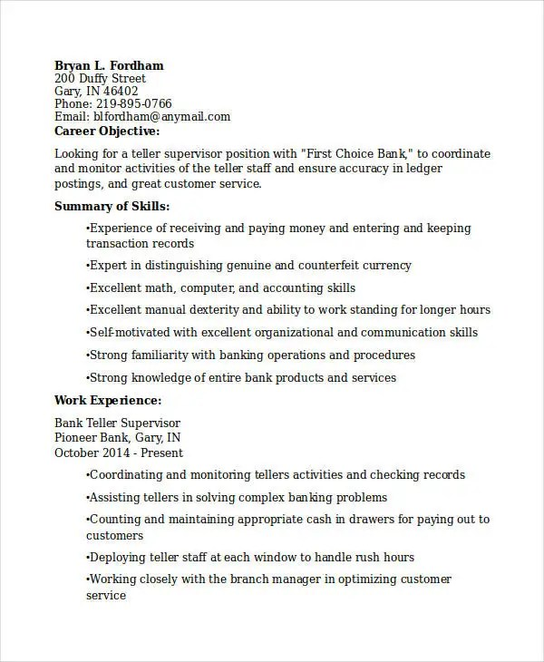 30+ Basic Banking Resume Templates - PDF, DOC Free  Premium Templates - resume examples for bank teller position