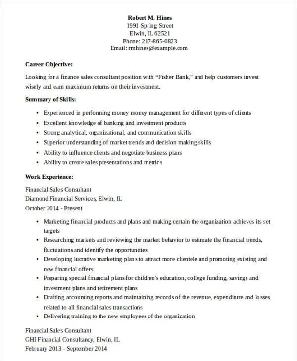 30+ Printable Sales Resume Templates - PDF, DOC Free  Premium - financial sales consultant sample resume