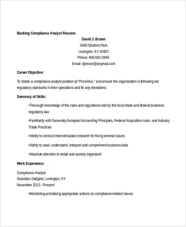 20+ Free Banking Resume Templates - PDF, DOC Free  Premium Templates - Fixed Base Operator Sample Resume
