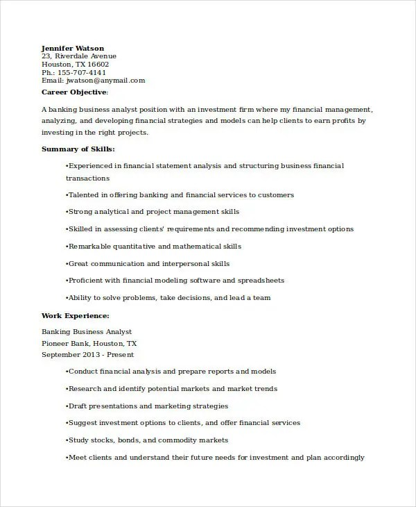 banking business analyst resume resume it business analyst