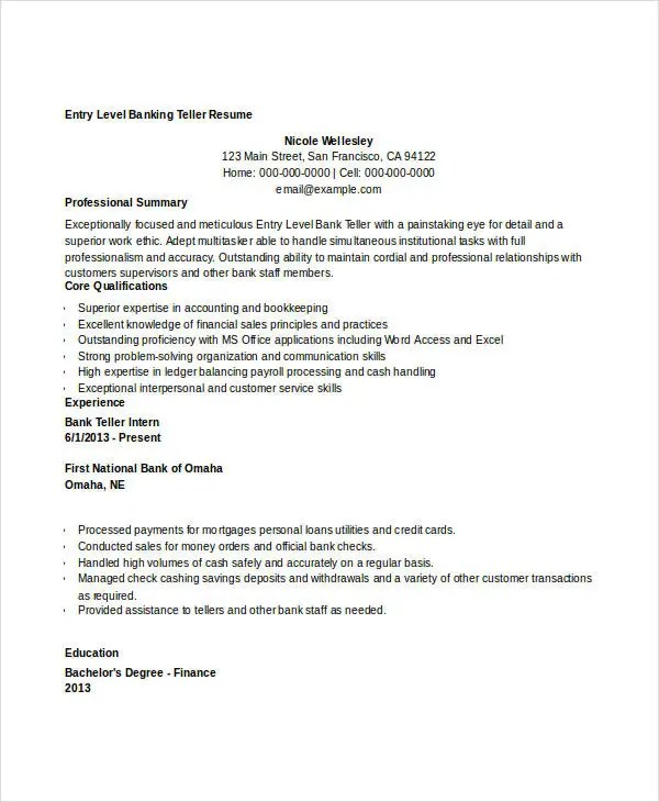 Gallery of Entry Level Bank Teller Resume