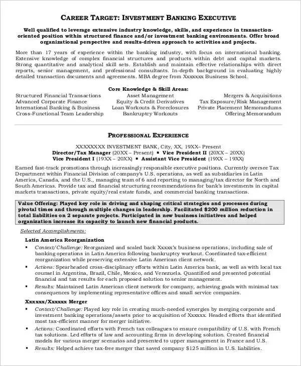 20+ Free Banking Resume Templates - PDF, DOC Free  Premium Templates