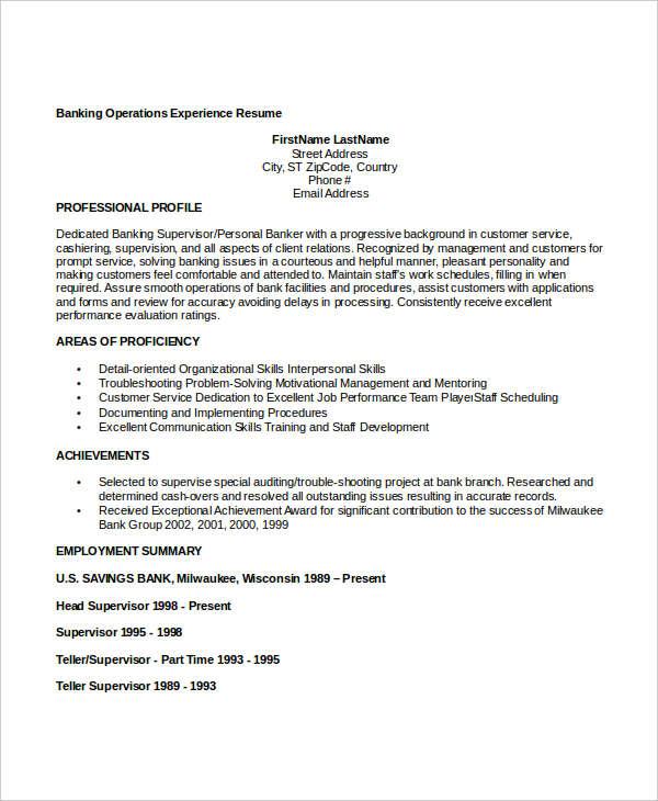 20+ Free Banking Resume Templates - PDF, DOC Free  Premium Templates - detail oriented resume
