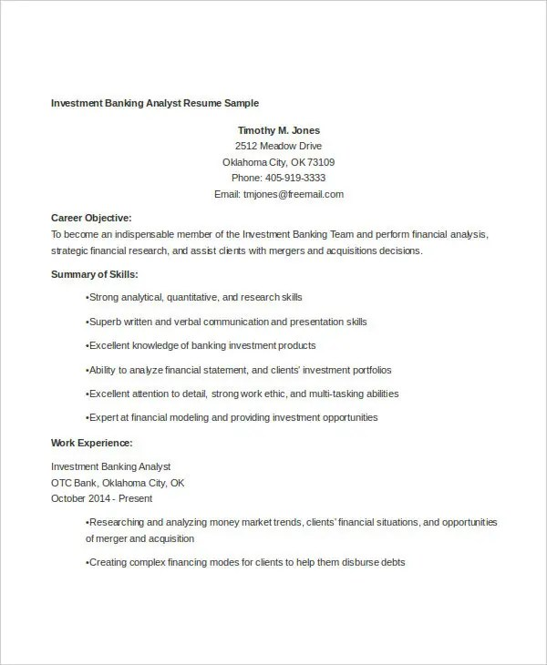 14+ Banking Resume Templates in Word Free  Premium Templates - investment banking analyst sample resume