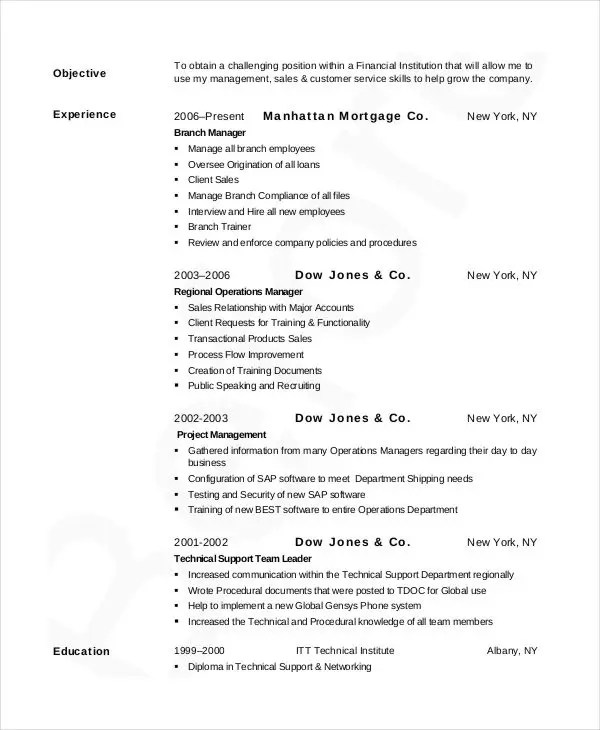 20+ Simple Banking Resume Templates - PDF, DOC Free  Premium - retail banking resume