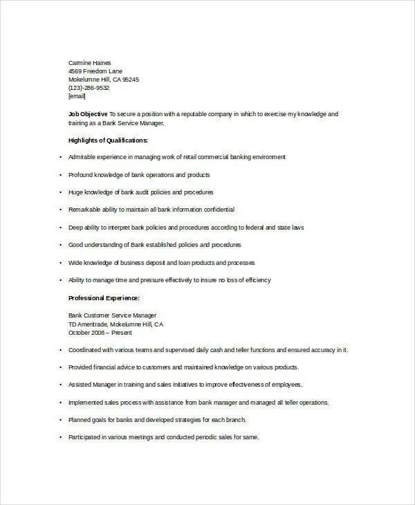 Banking Resume Samples - 45+ Free Word, PDF Documents Download - sample customer service manager resume