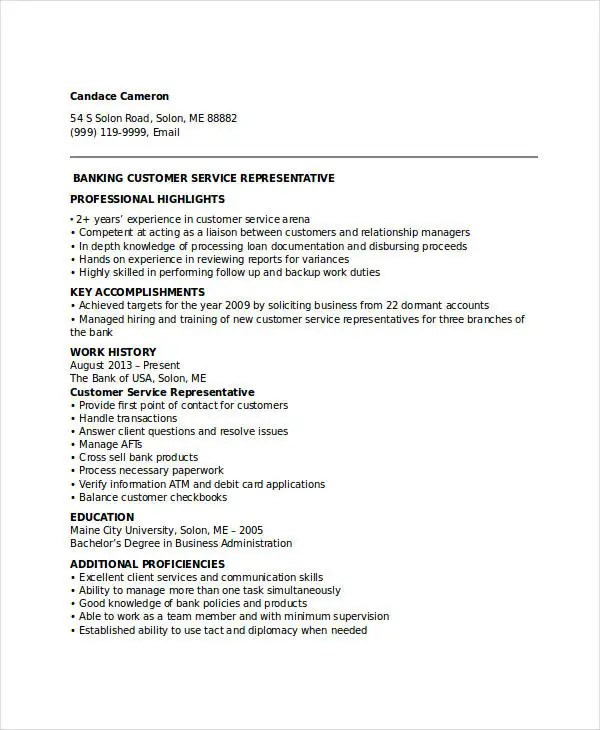 Banking Resume Samples - 45+ Free Word, PDF Documents Download