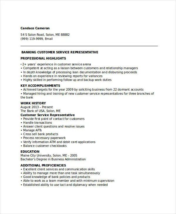 customer representative resume sample