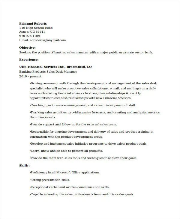 resume sample for sales experienced