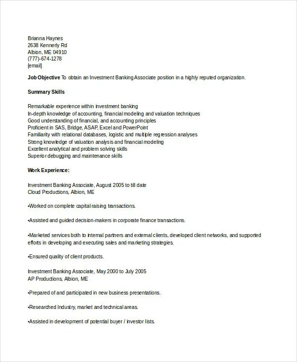 Banking Resume Samples - 45+ Free Word, PDF Documents Download - investment banking associate sample resume