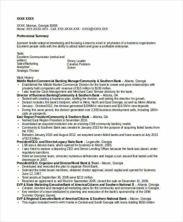 Banking Resume Samples - 45+ Free Word, PDF Documents Download - business banker resume