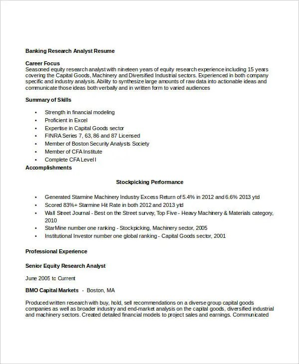 research analyst resume - Minimfagency - equity research resume