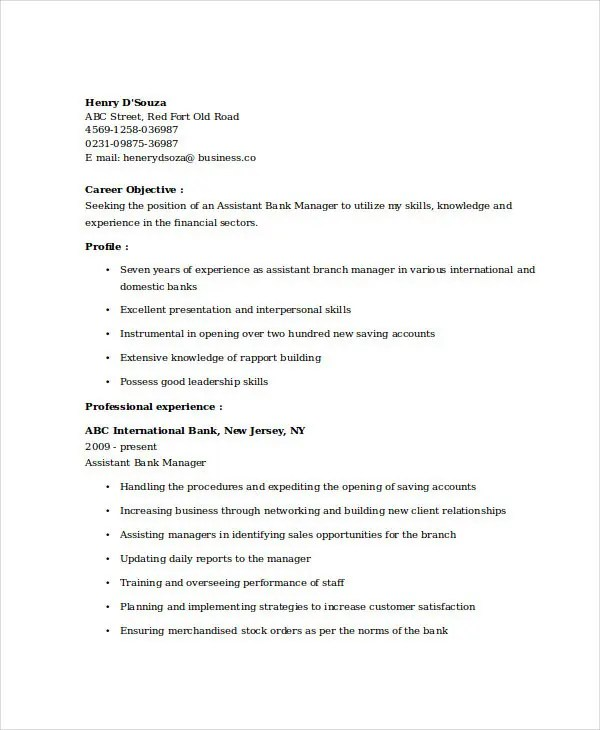 Banking Resume Samples - 45+ Free Word, PDF Documents Download - bank branch manager resume