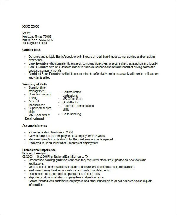 Banking Resume Samples - 45+ Free Word, PDF Documents Download - reconciliation analyst sample resume