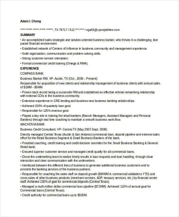 commercial banking resumes - Ozilalmanoof - commercial banker sample resume