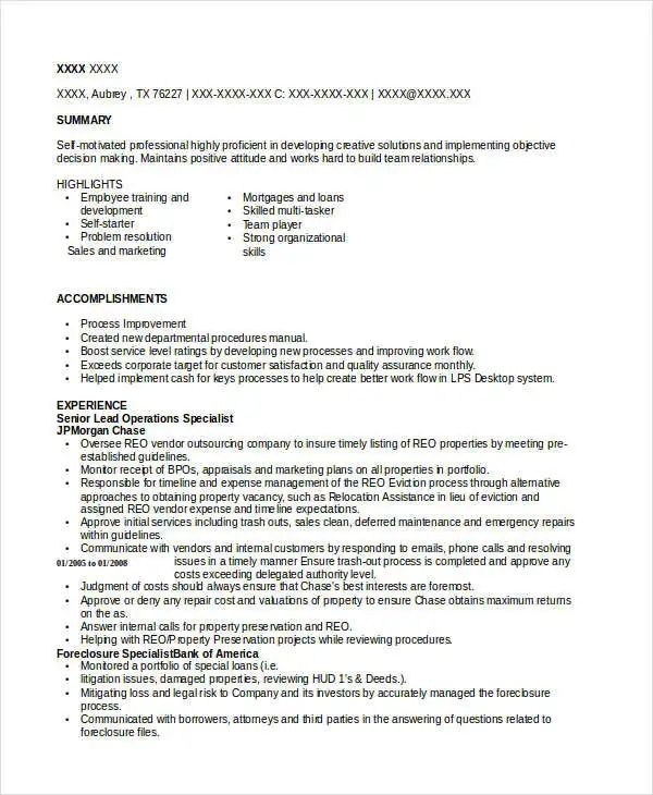 operations executive resumes
