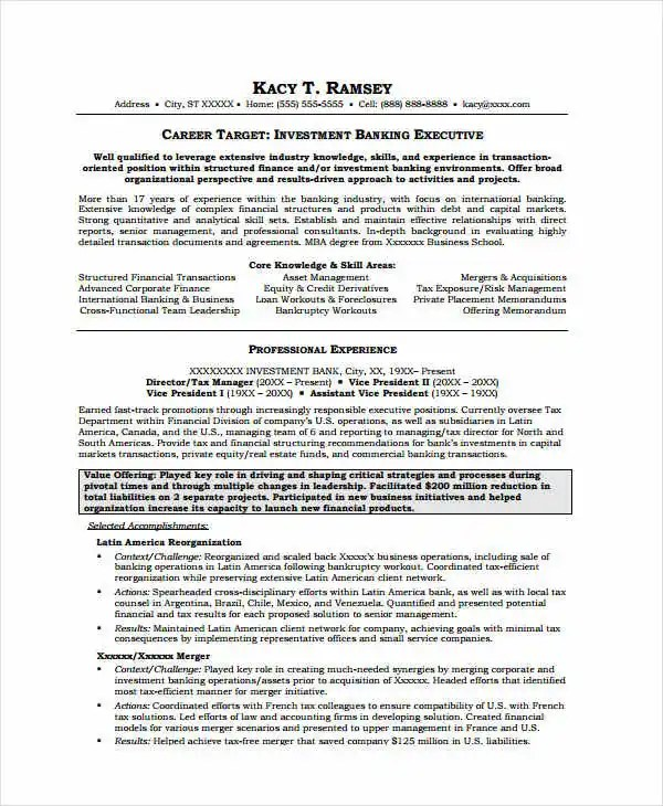 Banking Resume Samples - 45+ Free Word, PDF Documents Download - resume for banking
