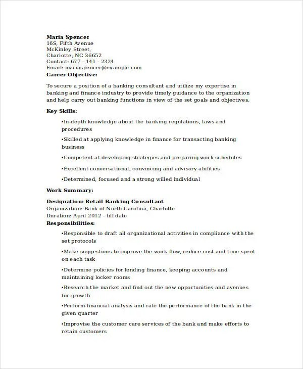 Resume For Banking Industry bank resume examples sample banking