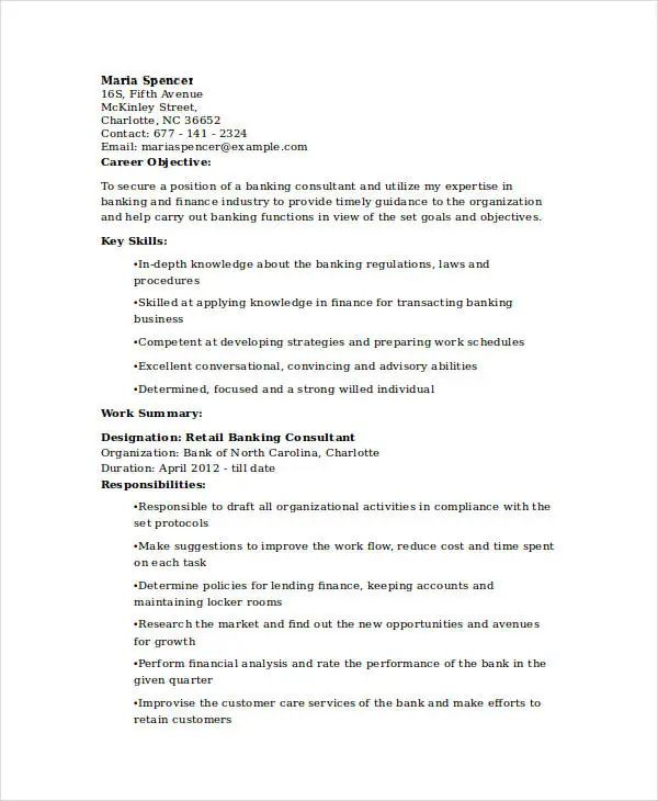 resume examples in retail