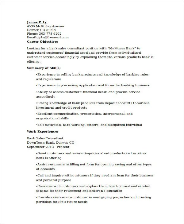 banking resume samples 48 free word pdf documents download independent consultant resume sales consultant resume. Resume Example. Resume CV Cover Letter
