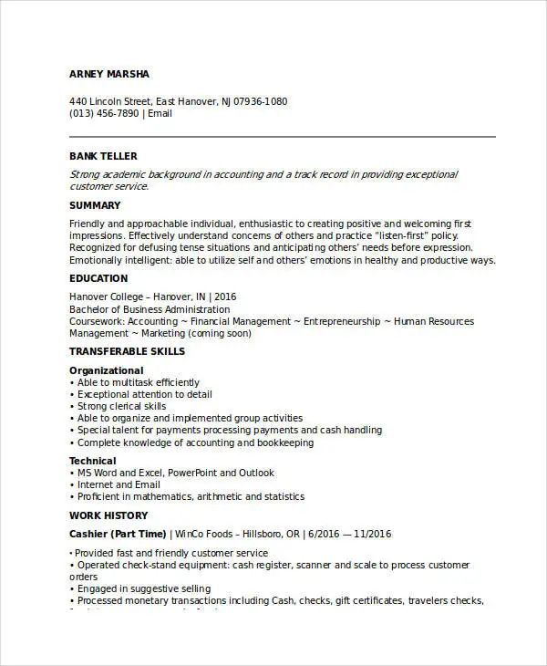 sample resume format for banking sector freshers