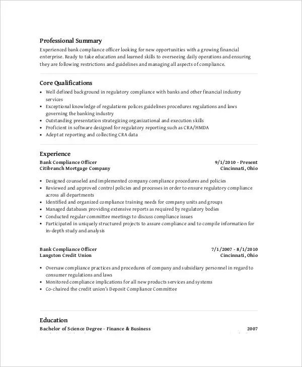 compliance resume
