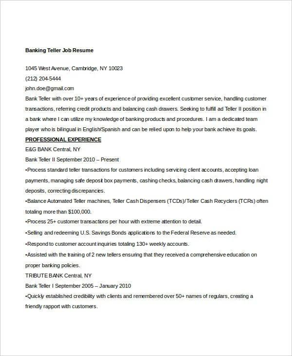 100+ Teller Job Resume -Resume Tailoring Job Magazine Template - bank teller job description for resume