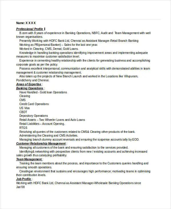 Banking Resume Samples - 45+ Free Word, PDF Documents Download - retail banking resume