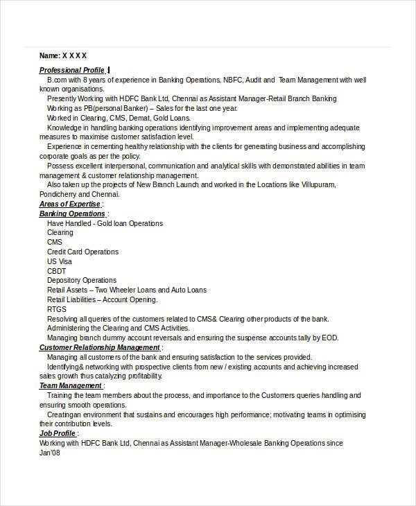 sales manager banking sample resume
