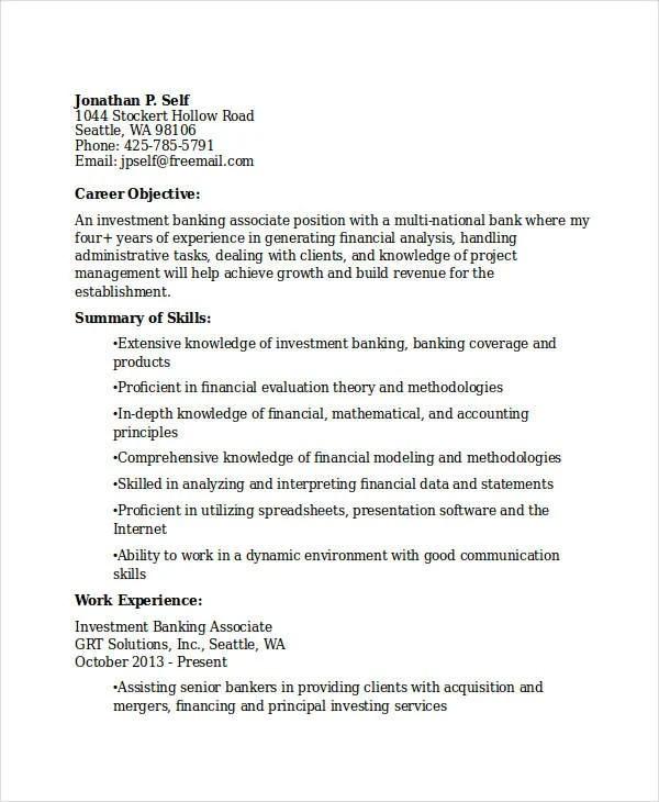 18+ Best Banking Resume Templates - PDF, DOC Free  Premium Templates - bank resume template