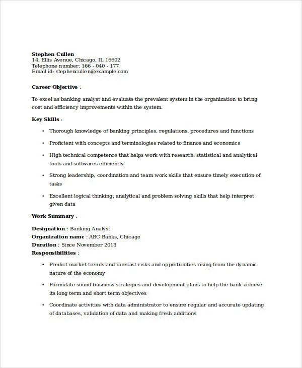 18+ Best Banking Resume Templates - PDF, DOC Free  Premium Templates - cdo analyst sample resume