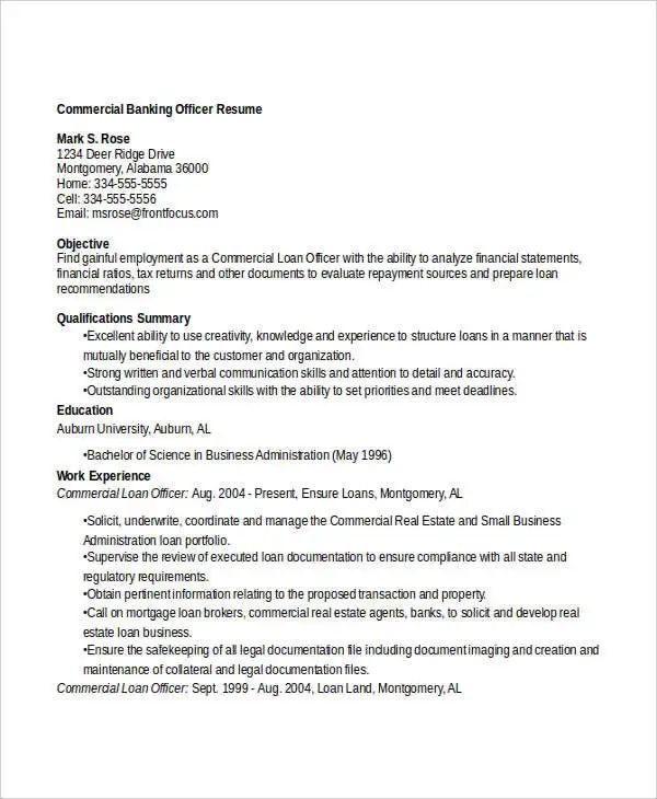 resume words banking