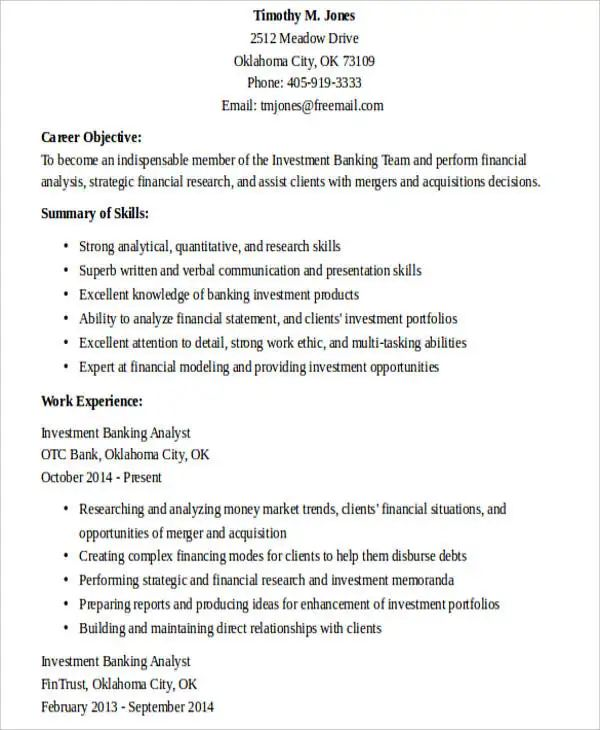 banking business analyst resume examples