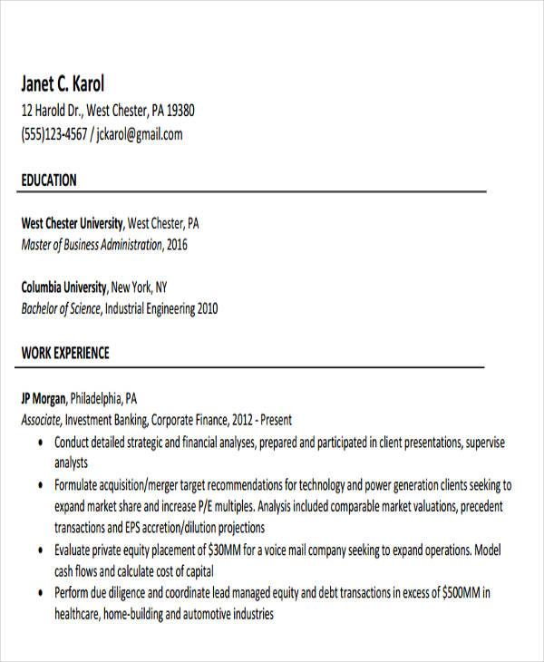 49+ Banking Resume Templates in Pdf Free  Premium Templates - investment banking associate sample resume