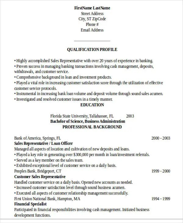 18+ Banking Resume Templates - PDF, DOC Free  Premium Templates - retail banking resume