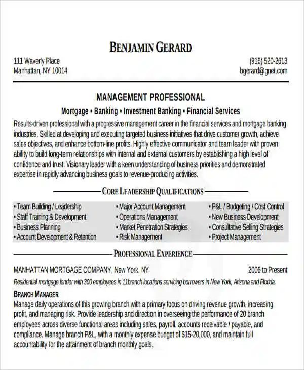 commercial banking manager sample resume