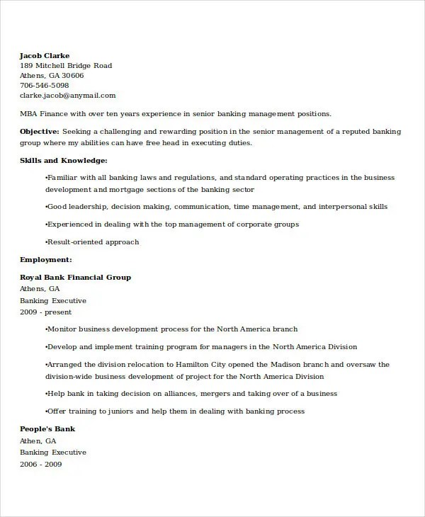 18+ Best Banking Resume Templates - PDF, DOC Free  Premium Templates