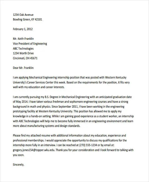 Cover letter internship engineering student Term paper Service