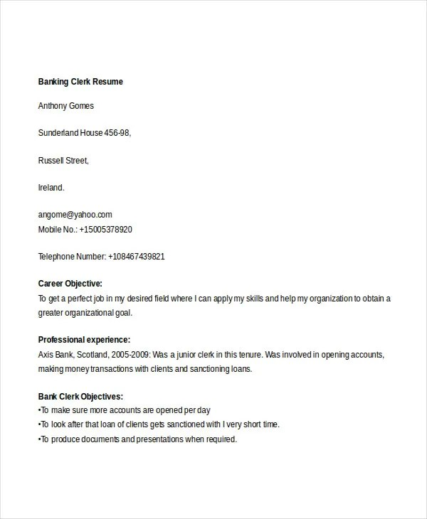 20+ Simple Banking Resume Templates - PDF, DOC Free  Premium - loan clerk sample resume